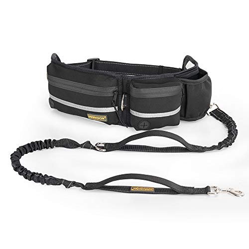 Hands Free Dog Leash, Dog Walking and Training Belt with Shock Absorbing Bungee Leash for up to 180lbs Large Dogs, Phone Pocket and Water Bottle Holder, Fits All Waist Sizes From 28