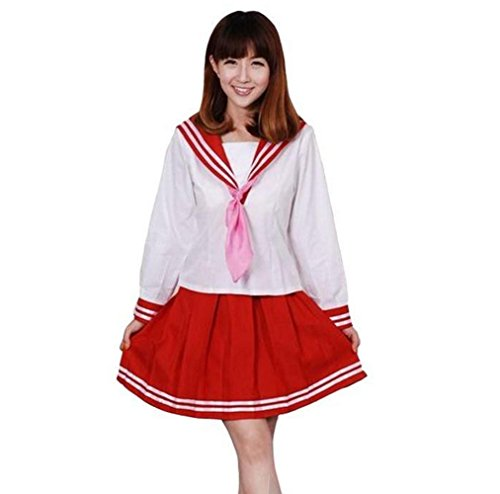 Cos-me Lucky Star Izumi Konata School Girl Dress Cosplay Costume Red S - Lucky Star Costumes