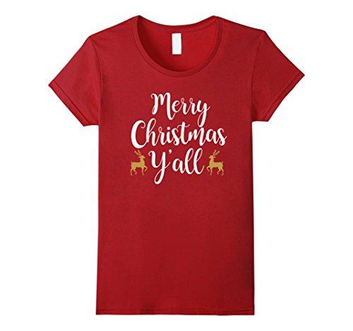 Womens Merry Christmas Y'all Shirt - Cute Christmas Medium Cranberry