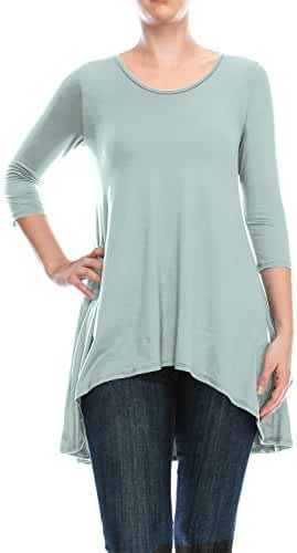 ALL FOR YOU Women Hi-Low 3/4 Sleeve Tunic Top Made in USA