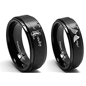 Premium Her Cowboy and His Angel Country Couples Ring Set In Black