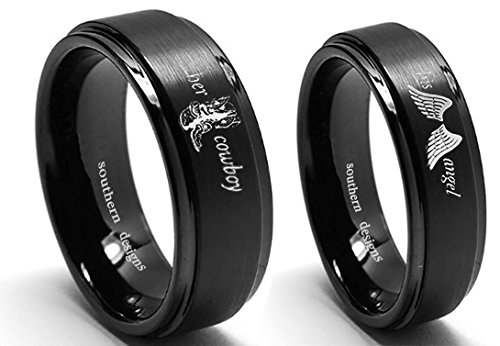 Southern Designs Her Cowboy and His Angel Ring Set (Her 9 and His 9.5) Black Band