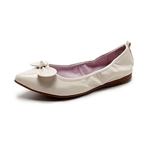 Leather No Pull Beige Flats Heel Solid Closed Shoes Women's WeenFashion Pointed On Patent Toe pSZqZFA