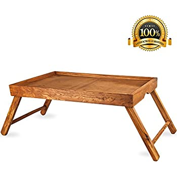 Home Intuition Pine Breakfast Tray Lap Desk With Foldable Legs