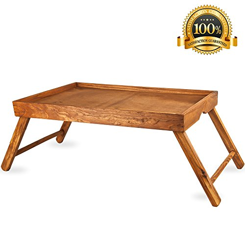 Pine Breakfast (Home Intuition Pine Breakfast Tray Lap Desk with Foldable Legs)