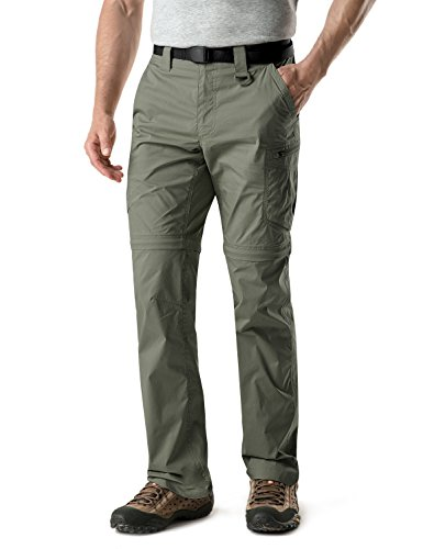 CQR CQ-TXP402-OLV_38W/34L Men's Convertible Pants Zipp Off Stretch Durable UPF 50+ Quick Dry Cargo Shorts Trousers TXP402