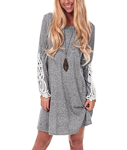 Sleeve Lace Casual Tunic Dress Loose A Line T Shirt Dress (S,Grey) ()