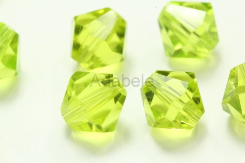 100 4mm Adabele Austrian Bicone Crystal Beads Light Olivine Alternative For Swarovski Preciosa Crystalized 5301/5328 #SSB417 Olivine Crystal Necklace