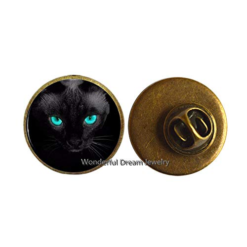 Blue Eyes Black Cat Brooch Pin Crystal Dome Women's Jewelry Men's Brooch,Cat Jewelry, Gift for Her,PU006 (Brass)