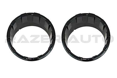 Razer Auto Gloss Black Headlight Ring Trim Bezel Headlamp Overlay Cover for 07-18 Jeep Wrangler JK ()