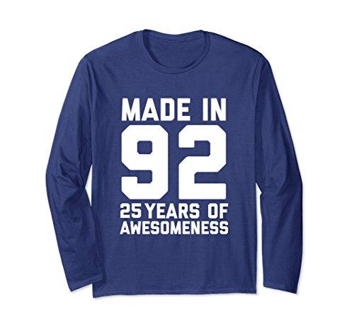 Unisex 25th Birthday Shirt Gift Age 25 Year Old Men Women Tshirt Large Navy