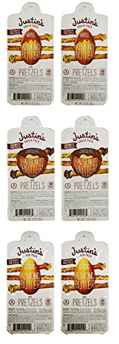 Justin's Nut Butter Snack Pack with Pretzels Variety, Net WT 7.8 oz. (Pack of 6)