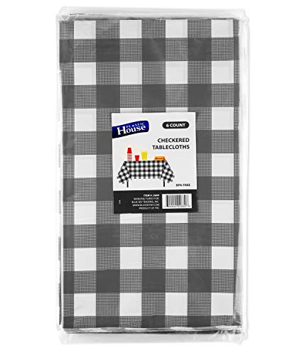 PH Gingham Checkered Disposable Party Racing Tablecloths, Plastic Flag Rectangle Picnic Table Covers, 54