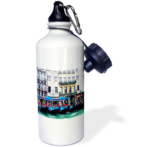 3dRose Danita Delimont - Cities - Italy, Venice, Buildings along the Grand Canal with Gondolas parked - 21 oz Sports Water Bottle (wb_277664_1) by 3dRose
