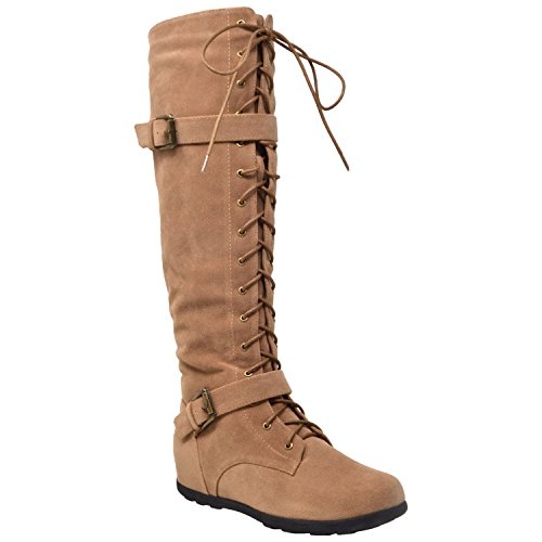 Generation Y Womens Boots Knee High Block Heels Lace up Combat Buckle Strap Zipper Closure Shoes Camel
