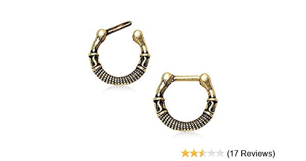 New Greek Inspired Antique Gold Plated Nose Ring Septum Clicker 16g