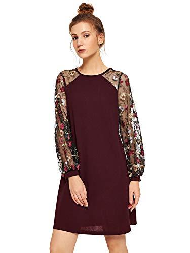 DIDK Women's Flower Embroidered Mesh Contrast Dress Burgundy XXL