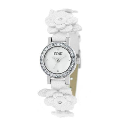 badgley-mischka-womens-ba1137wtwt-swarovski-crystals-silver-tone-flower-applique-white-leather-strap
