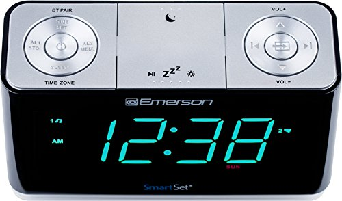 Emerson ER100301 SmartSet Alarm Clock Radio with Bluetooth Speaker, Charging Station/Phone Chargers with USB port for iPhone/iPad/iPod/Android and Tablets