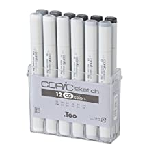 Copic Markers 12 Piece Sketch Set, Cool Gray