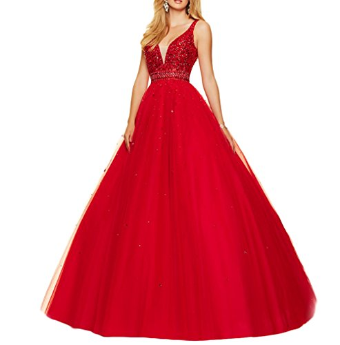 Women's V Backless Evening neck Beaded Sexy DreHouse Crystal Dress Prom Dresses Red 2017 FqCq1