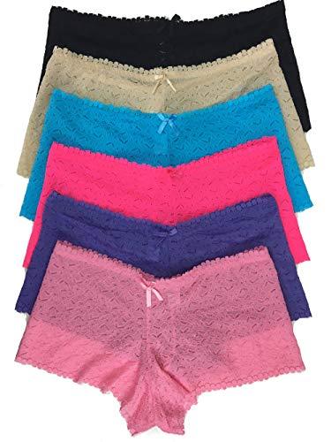 ROSAIN Plus Size Panties Sexy Lace Boyshort Underwear for Women (6-Pack) (XXXX-Large, Assorted 2)