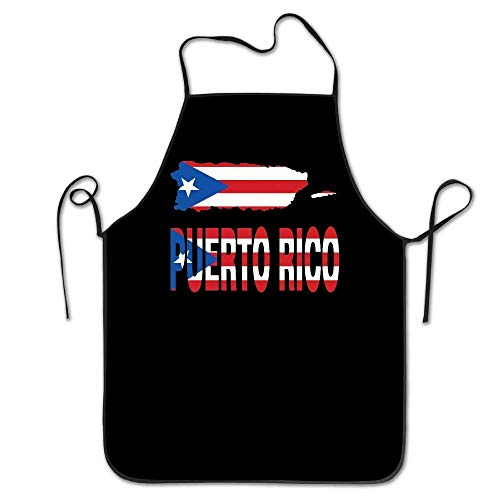 amiuhoun Puerto Rico Map Flag And Text Women Men Kitchen Bib Apron Barbershop Tea Shop With Adjustable Neck Chef's Apron