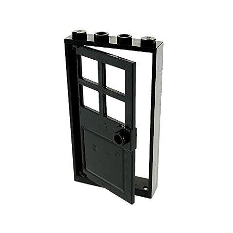 LEGO City Town Black Door Frame 1 x 4 x 6 and Black Door 1 x 4 x 6 with 4 Panes and Stud Handle - - Sand Mad Cat