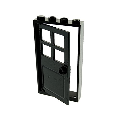 LEGO City Town Black Door Frame 1 x 4 x 6 and Black Door 1 x 4 x 6 with 4 Panes and Stud Handle - Loose (Grau Ferrari)