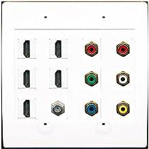 RiteAV 1 Coax Component Composite 5 Hdmi Stereo TV Wall Plate White