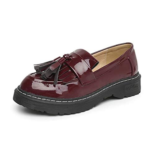 Womens Round Toe Loafers Patent Leather Slip On Tassel Vintage Breathable Comfortable Ladies Oxfords Shoes