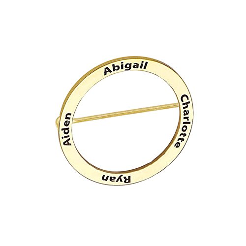 AOCHEE Personalized Disc Name Brooch Custom 4 Names Brooch Pins Engraved Jewelry (Gold)