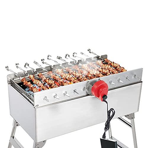 BEM Mangal Schaschlikgrill, Grillset mit Zubehör inkl. Powerbank + Motor, Elektrisch, Edelstahl, Klappbar…