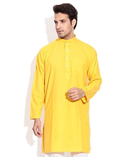 Royal Kurta Men's Summer Wear Fine Cotton Blended Straight Kurta 44 Yellow