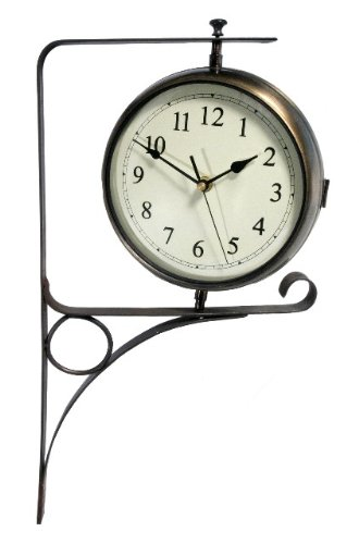 Zweiseitige Uhr mit Wandhalterung