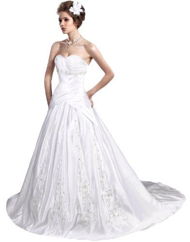 Faironly Sweetheart Satin A-line Bridal Dress Nj5 (XXL, White)