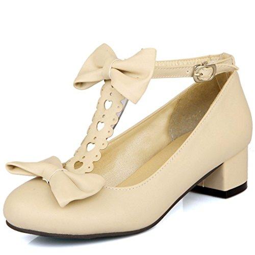 pour talon boucle femmes TAOFFEN souliers avec Chaussures t bas bride confortables à shirt à beige et de qwXzZw8
