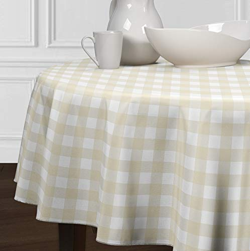 A LuxeHome Beige and White Buffalo Plaid Check Tablecloths Dining Room Kitchen Round 90