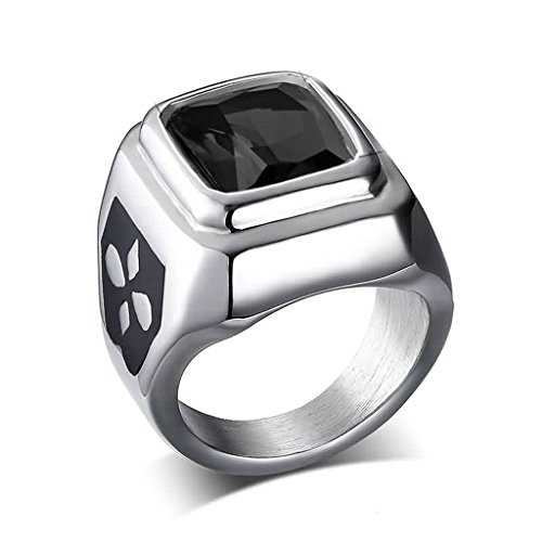 A Deer In The Headlights Costume (Epinki Stainless Steel Ring, Womens Mens Wedding Bands Black Square Cubic Zirconia,Width 10MM Size 6)