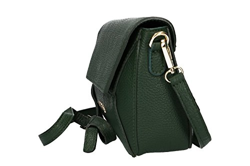 Borsa donna a tracolla mini PIERRE CARDIN verde in pelle Made in Italy VN639