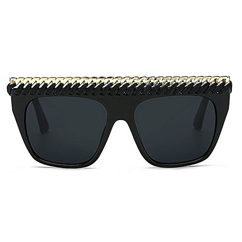 Gafas aire decoración sol Personalidad Gran de para las gran de tamaño la al gafas mujeres de libre vacaciones estilo Retro cadena de de protección de de Negro de de verano la las UV sol Playa conducción r11Xq4g