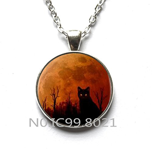 maoqunza Fashion Necklace Fashion Pendant, cat Halloween Logo Pendant Necklace Handmade Resin Charming Necklace Jewelry Gift for Women Dress Accessories and Men -