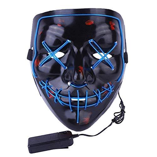 Halloween Scary Mask LED Light Up Masks for Adult (Blue)