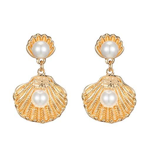 Kofun Earrings, Shell Drop Earrings Gold Metal Scallop Sea Shell Drop Earrings Beach - Shell Gold Scallop Sea