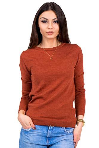 Women's Pure Merino Wool Classic Knit Top Lightweight Crew Neck Sweater Long Sleeve Pullover (X-Small, Orange)