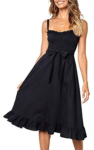 Angashion Women's Dresses - Summer Boho Floral Spaghetti Strap Button Down Belt Swing A line Midi Dress with Pockets 119 Black S ()