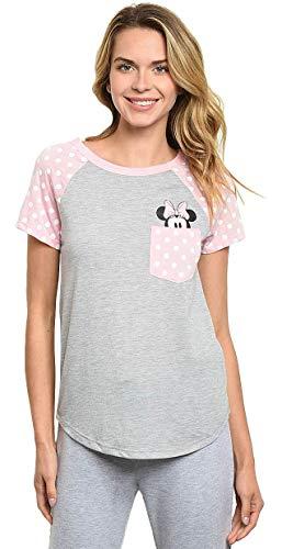 Disney Junior T-Shirt Minnie Mouse Peeking Out of Pocket Print Tee Pink (2XL)
