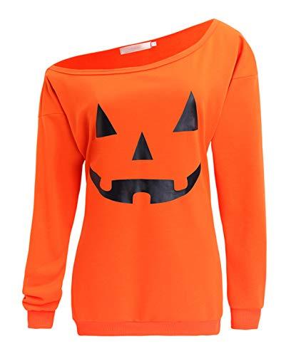 (GSVIBK Womens Halloween Sweatshirts Pumpkin Face Long Sleeve Sweatshirts Off Shoulder Halloween Shirts Slouchy Pullover (L, B-Orange))