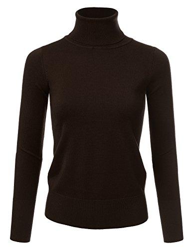 Ribbed Nylon Turtleneck - NINEXIS Women's Basic Long Sleeve Soft Turtle Neck Sweater Top Brown S