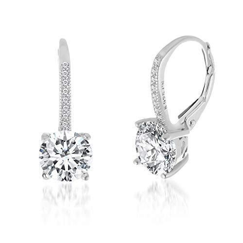 Devin Rose Round Dangle Drop Bridal Leverback Earrings for Women In Rhodium Plated 925 Sterling Silver Made With Swarovski Crystal (White)